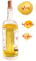 Watercolor white wine bottle with handwritten words