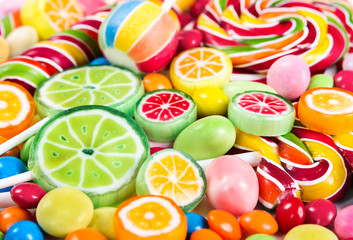 Wall Mural - Colorful lollipops and different candy