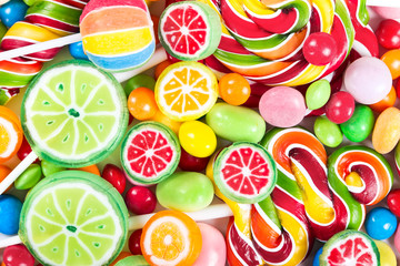 Photo sur Aluminium Confiserie Colorful lollipops and candy