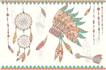 Hand drawn native american dream catcher, beads and feathers