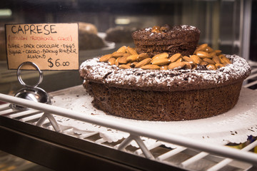 Italian cake in bakery case at gavsevoort market NYC