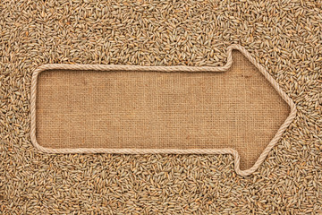 Pointer made from rope with grain rye  lying on sackcloth