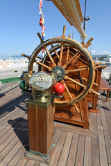 The helm of a sailing ship