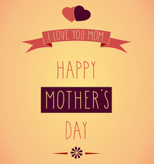 Hand Drawn Happy Mother's Day retro poster. Vector illustration.