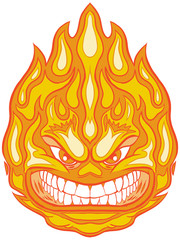 Angry Face Fireball Vector Clip Art Cartoon