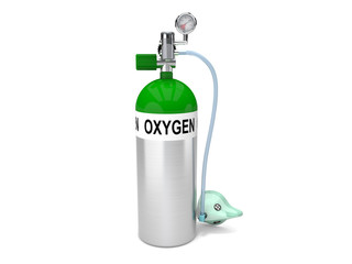 oxygen tank with face mask and pressure gauge isolated on white