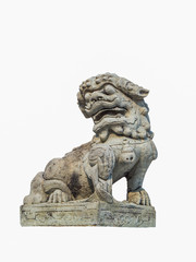 Chinese lion carved out of rock isolated with white background f
