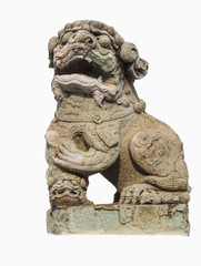Chinese lion carved out of rock isolated with white background