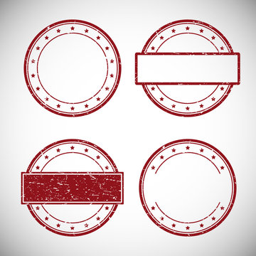 Set of red grunge rubber stamp,vector illustration.