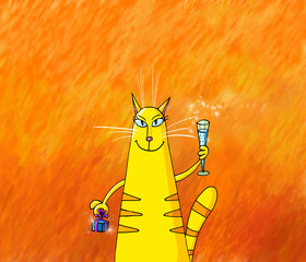 Yellow Lady Cat Holding Gift Box and Glass