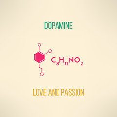 Love and passion chemistry concept. Dopamine molecule background