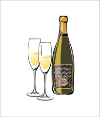 Vector illustration of champagne and two glasses.