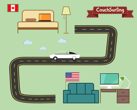 Couch surfing concept. Travel infographic. Share your sofa. Car