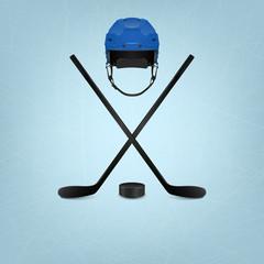 Ice hockey helmet, puck and sticks. Vector background.