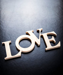 text love on black background