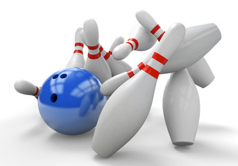 Blue 3D bowling ball smashing into pins for a strike