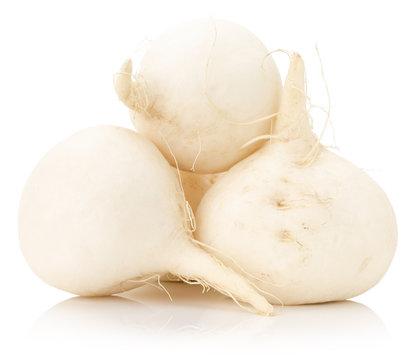 white radish isolated on the white background
