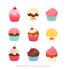 Nine flat cupcake illustration