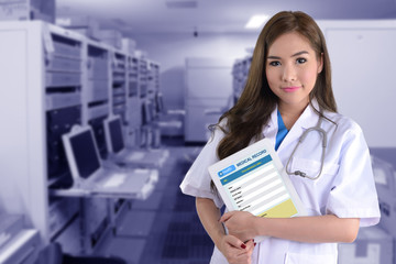 Wall Mural - Female doctor with electronic health system.