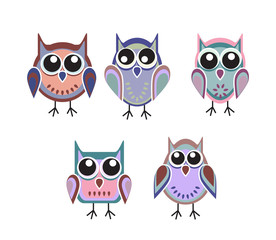 colored owls