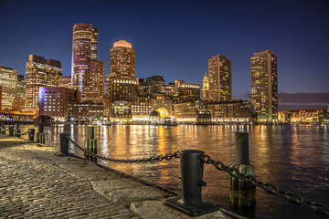 View at downtown Boston in Massachusetts across the bay at night