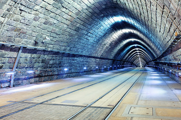 Printed kitchen splashbacks Tunnel Tunnel with railroad and tram