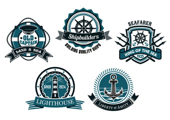 Nautical themed emblems and badges