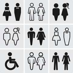 Restroom silhouettes icon set.