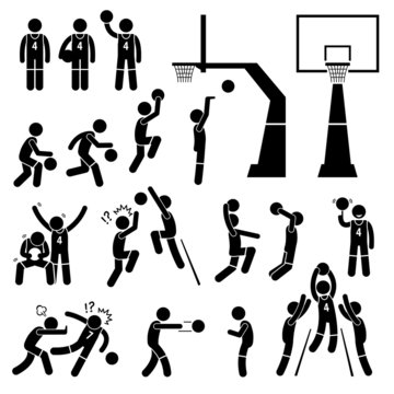 Basketball Payer Action Poses Cliparts