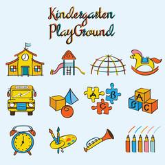 Kindergarten, Toys and Playground Set
