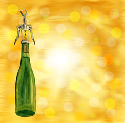 Bright template with golden background and bottle of wine