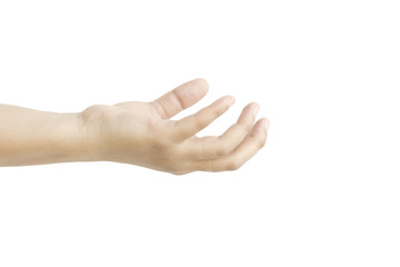 Hand action metaphor with ask for something