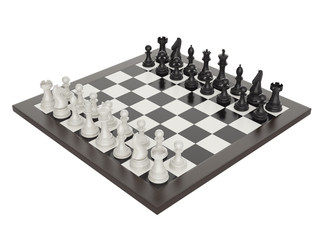 3d illustration of chess on chessboard