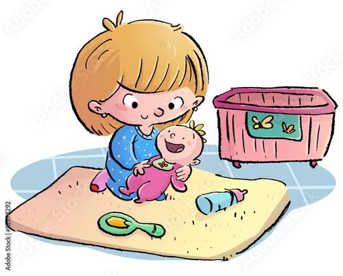 Ni a jugando con bebe de juguete fotos de archivo e for Cocinar imagenes animadas