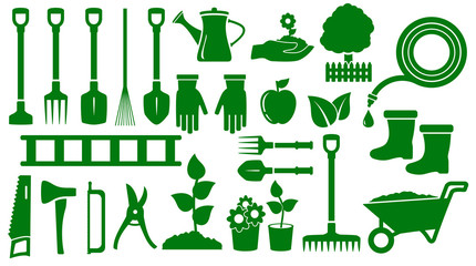 Poster Vert set isolated green garden tools