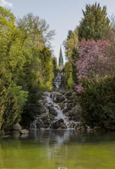 Artifcial waterfall in the Victoria Park, Kreuzberg, Berlin
