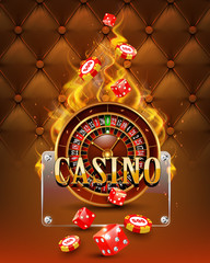 Casino background with chips, craps and burning roulette.