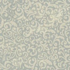 Seamless Vintage Floral Pattern. With Grunge Textured Background