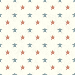 Red and Blue Stars on Textured Background. Seamless Pattern.