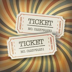 Poster Vintage Poster Two cinema tickets. On retro sunburst background