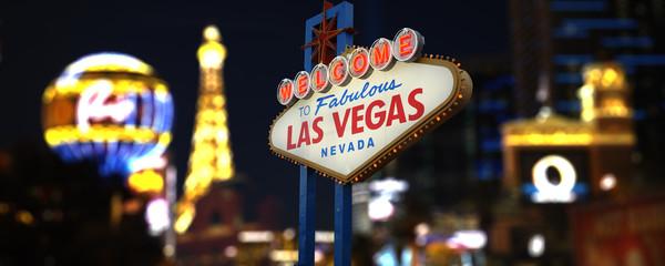 Foto op Canvas Las Vegas Welcome to Fabulous Las Vegas Neon Sign