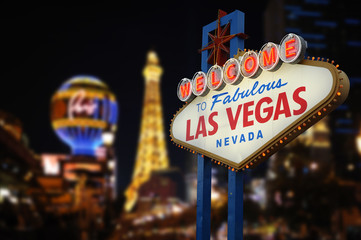 Fototapeten Las Vegas Welcome to Fabulous Las Vegas Neon Sign