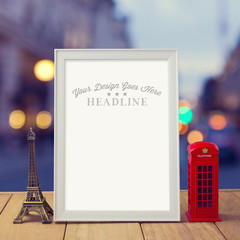 Poster mock up template with Eiffel Tower and London phone booth