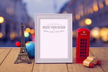 Poster mock up template with travel souvenirs over city bokeh