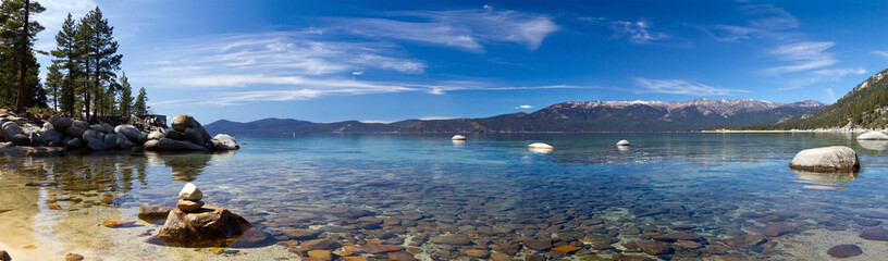 Poster Mountains Lake Tahoe Panoramic Beach Landscape