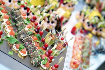 Different snack and canape on a table