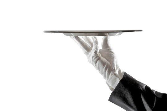 Servieren: Hand präsentiert Servierplatte