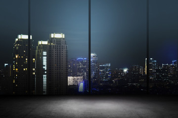 City Night Background Inside Office Building