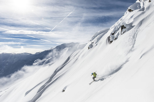 Free skiing downhill