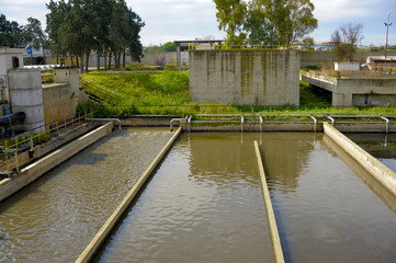 Aerated activated sludge tank at a wastewater treatment plant.